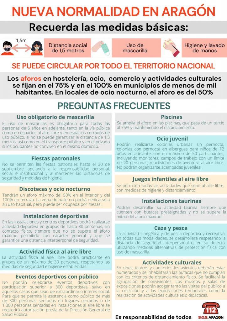 Medidas básicas en la nueva normalidad en Aragón.